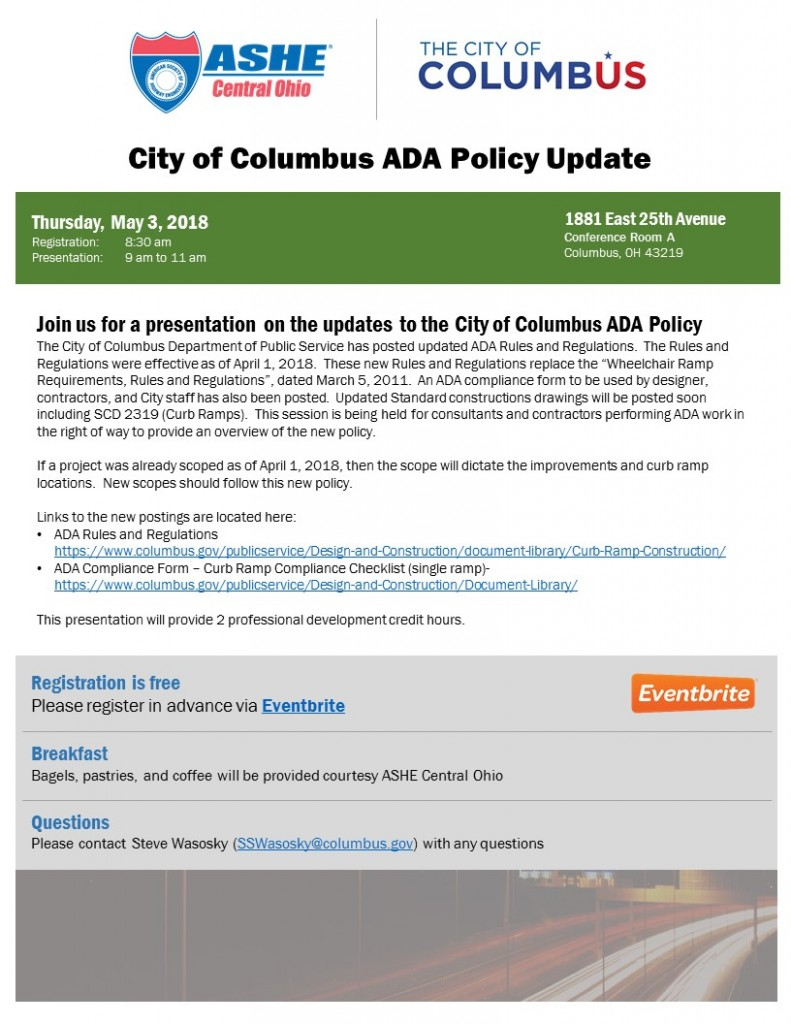 City of Columbus ADA Policy Update @ Columbus | Ohio | United States